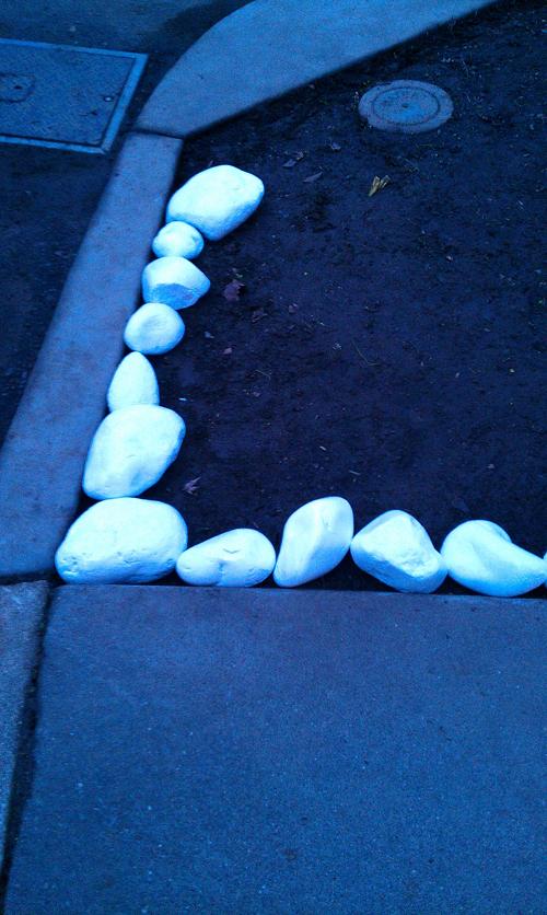 sidewalk rock arrangement
