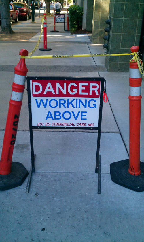 danger working above sign