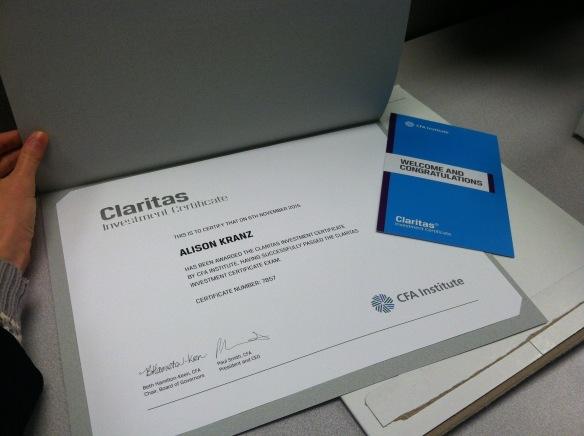 claritas investment certificate